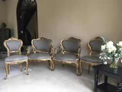 Very Fine French 19th Louis Xv Style Four Pieces Giltwood