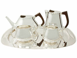 Vintage Design Style Sterling Silver Four Piece Tea & Coffee Set with Tray