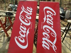 1950s MATCHED PAIR Coca Cola Sled Signs. 68inx24in. Porcelain 2