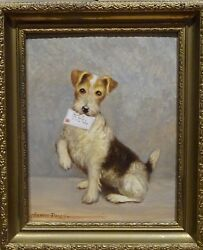 20th Century Wire Haired Fox Terrier Dog Portrait Antique Oil Painting Signed