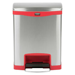 8 Gallon  30L Stainless Steel Step-On Trash Can with Red Rigid Plastic Liner