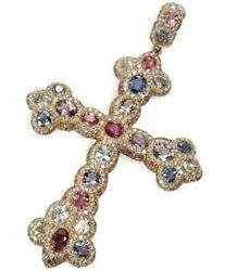 Egyptian Cross 925 Sterling Silver/10k Yellow Gold Multi-color Cz Pendant
