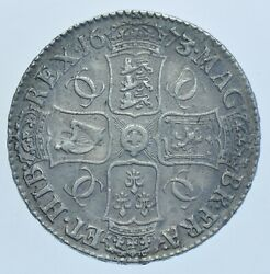 Scarce Charles Ii Crown, 1673/2, 3 Over 2 In Date, British Silver Coin Gvf