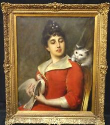 Large 19th Century French Lady Her Favourite Pets Cat & Bird Portrait LEON HERBO