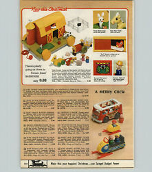 1971 Paper Ad 2 Pg Toy Fisher Price Farm Coaster Family House Jet Snowmobile