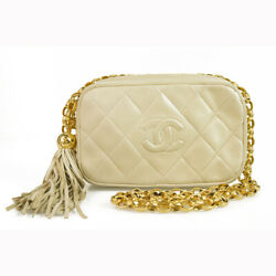 Chanel Vintage Lambskin Leather Quilted Ecru Evening bag Gold chain strap tassel