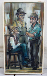 Vtg Julie Hopkins Oil Painting Abstract Realism 1960and039s 3 Men Talking New England