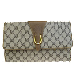 Authentic GUCCI GG Pattern Clutch Hand Bag PVC Leather Brown Italy 02EM815