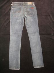 7 For all Mankind Roxanne Skinny Jean Little Girl Sz 12 Distressed Wash NEW $125