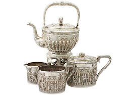 Indian Sterling Silver Four Piece Tea Set - Antique Circa 1880 3139g
