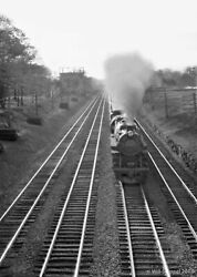 Railroad Steam Engine Running Down Long Parallel Tracks In Plainfield Nj 1930s