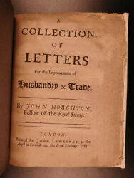 1681 1st Ed Houghton Letters Of Husbandry And Trade England Agriculture Finance