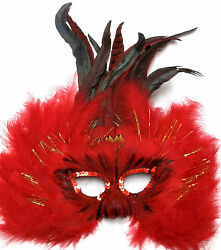 12 Red Feather Masquerade Mardi Gras Dance Costume Ball Prom Mask