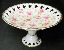 Vintage Lefton China Hand Painted Candy Display Dish Roses Gold Trim 650r