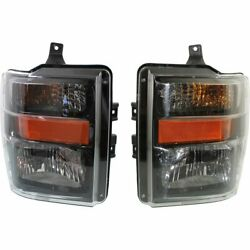 Halogen Headlight Set For 2009-10 Ford F-450 Super Duty Aero w/Harley Mdl/Bulbs