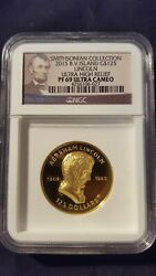 2015 125.00 Lincoln. Ultra High Relief Gold Coingraded Pf-69 Ultra Cameongc