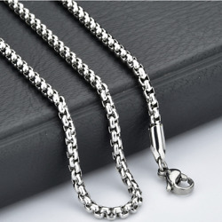 Fashion Unisex 316L Stainless Steel Round Box Chain Necklace Hot Gift