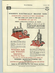 1928 Paper Ad Weeden Toy Steam Engine Electric Heated Toys 670 672 Color
