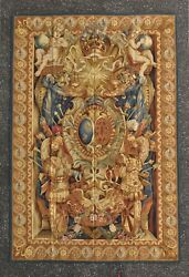 6' x 9' Louis XIV Armorial Coat of Arms Wool Aubusson Tapestry Wall Hanging