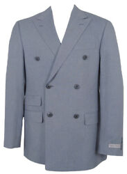 New Hickey Freeman Double Breasted Sportcoat Blazer 42 Reg Cotton Usa Made