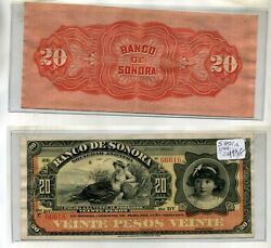 1914 20 Peso Bank Of Sonora Currency Note Au Cu Rare