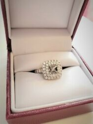 Never Been Worn. White Gold Double Halo Diamond Engagement Ring Setting