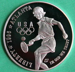 1996 P Olympic Tennis Proof Silver One Dollar Commemorative Us Mint Coin Only