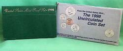 1998 Proof And Uncirculated Annual 2 Complete Us Mint Coin Sets Pds 15 Coins