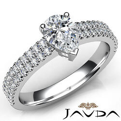 2 Row Shank Double Prong Set Pear Diamond Engagement Ring Gia F Color Vs1 1ct