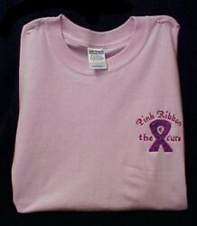 Breast Cancer Awareness 3x Pink Purple Ribbon 4 Cure Pink S/s T Shirt Unisex New
