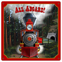 All Aboard Sign Tin Vintage Style Railroad Metal Signs