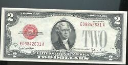 1928 G Red Seal 2.00 Dollar Bill Au One Two Dollar Bill Number E09842631a