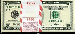 2001 Five Dollar Pack Star Notes Unc Rare Low Numbers
