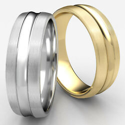Comfort Fit Satin Finished Convex Cut Gold Man Menand039s Ring 7.5mm Wedding Band