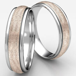 Swirl Finished 2 Two Tone Rose Gold Comfort Fit 6mm Wedding Band Man Menand039s Rings