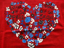 Girland039s Americana Red Short Sleeve T-shirt Land Of The Free Home Of The Brave