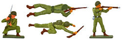 Starlux Wwii Infantry Rifle Squad 'a' Painted Plastic Toy Soldiers - Fs31000g
