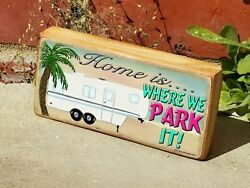 Mini Wooden Beach 5th Wheel Live Loved Laugh Camping Shelf Sitting Sign 2.5 X5