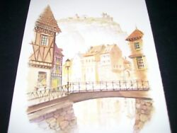 Lithograph Mideval Town In Europe-by John E. Bradly 9 X 12