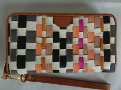 New Fossil Sydney Zip Clutch Coral Multi Woven Leather Phone Wallet SL6999934