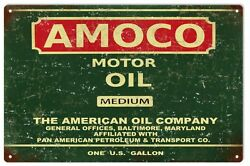 Vintage Looking Reproduction Amoco Motor Oil Medium Gas Service Station Sign