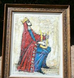 Nissan Engel Painting On Board King David Playing The Lyre Version 2 Paris