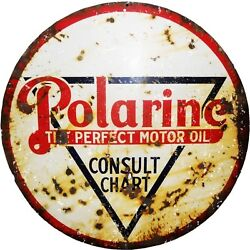 Reproduction Polarine Perfect Motor Oil Sign 24x24 Round