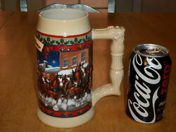 Budweiser Beer, Clydesdale Horses And Wagon, Handcrafted Ceramic Beer Stein / Mug