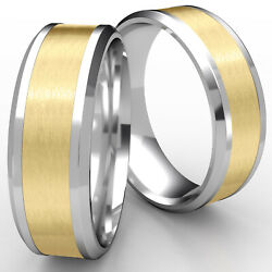 6mm Drop Bevel Satin Finished Menand039s Womenand039s Wedding Band 14k 2 Tone Gold Rings