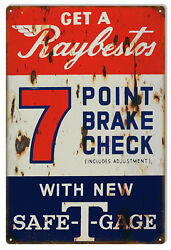 Reproduction Raybestos 7 Point Brake Check Sign 12x18