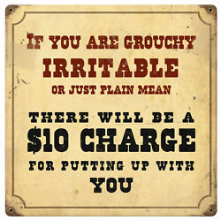 If Your Grouchy Irritable Sign Tin Vintage Style Railroad Signs