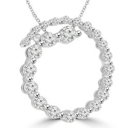 2.00 Ct Tw Round Diamond Spiral Circle Of Love Pendant With 16 Inch Chain