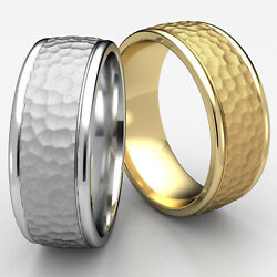 Hammered Finished Men's Women's Ring 14k White-yellow-rose Gold 8mm Wedding Band