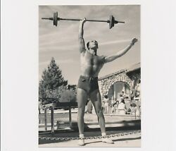 1950's Strong Man F.w. Lifts Weight Bar Bell With One Hand